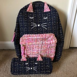 Anthropologie Miss Kitty Backpack and Pencil Case